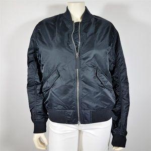 EVERLANE Black Nylon Bomber Jacket - size L